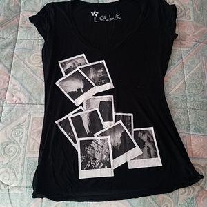 Black v neck top with Polaroid picture design